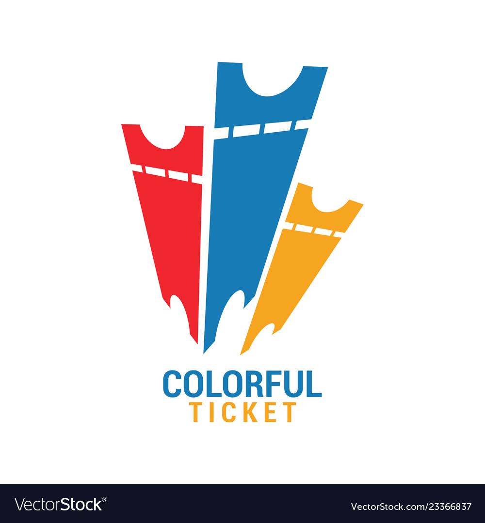 Colorful ticket graphic icon design template