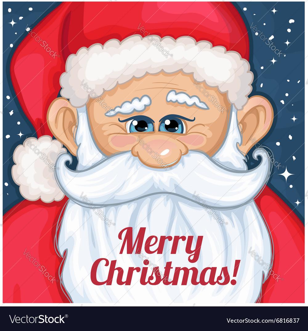 Cute cartoon Santa Claus with Christmas greetings