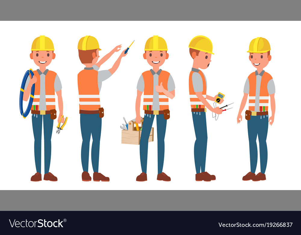 Electrician different poses working