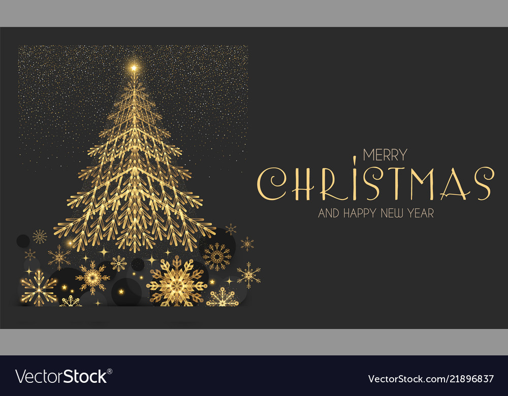 elegant christmas card template with gold fir tree vector image - Elegant Christmas