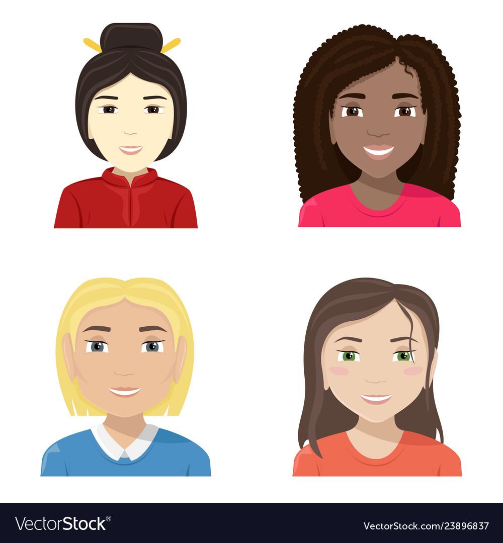 Flat of women of different nationalities diversity