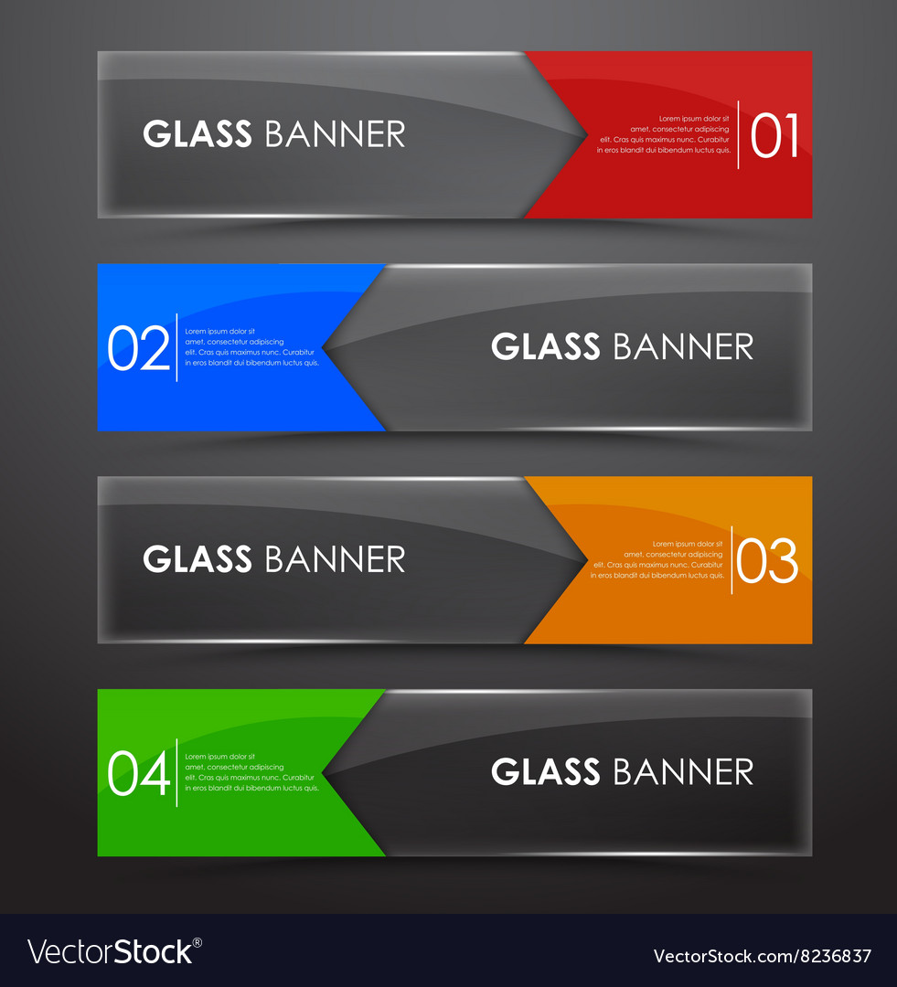 Glass banner with arrow