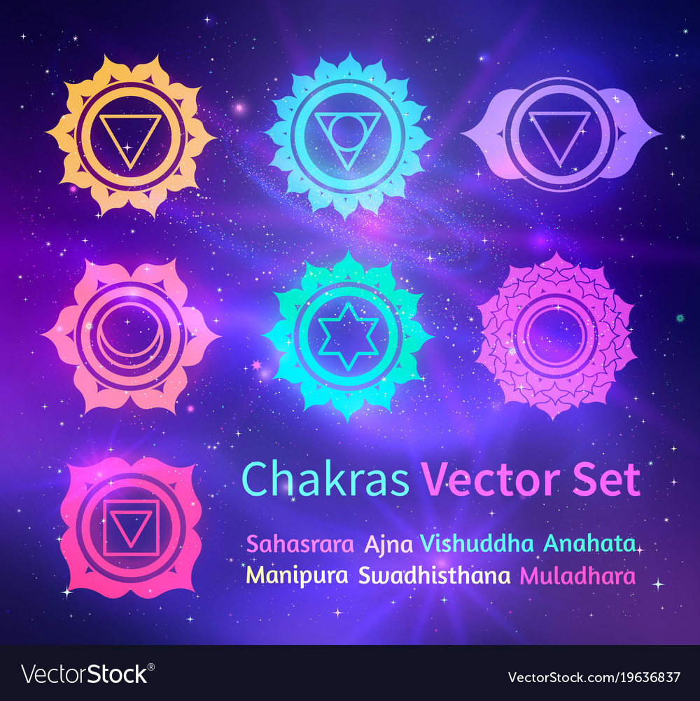 Glowing chakras on space background