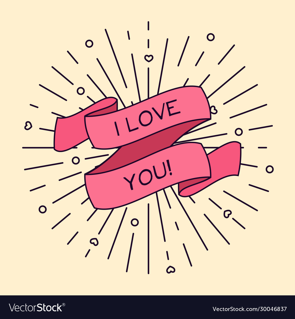 I love you greeting card with ribbon and vintage