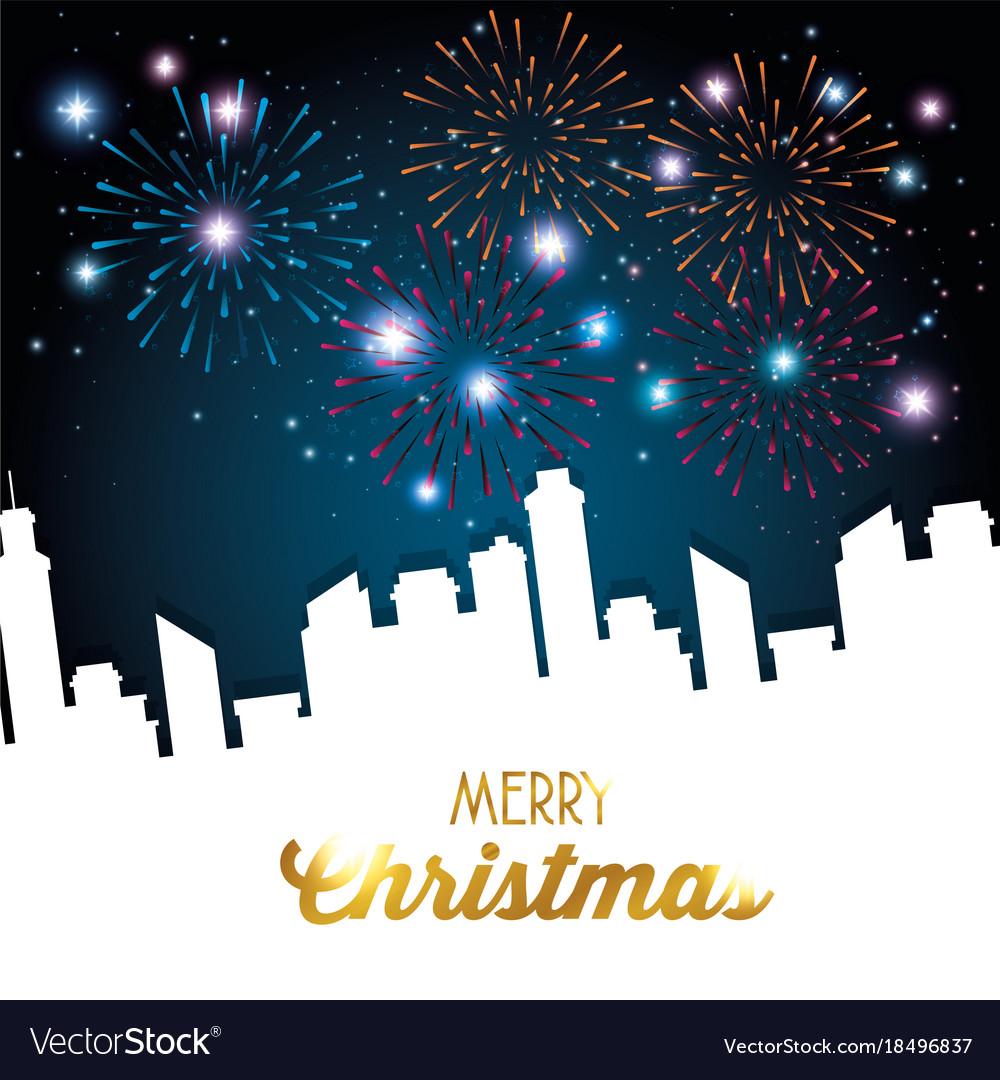 Merry christmas sparkling fireworks