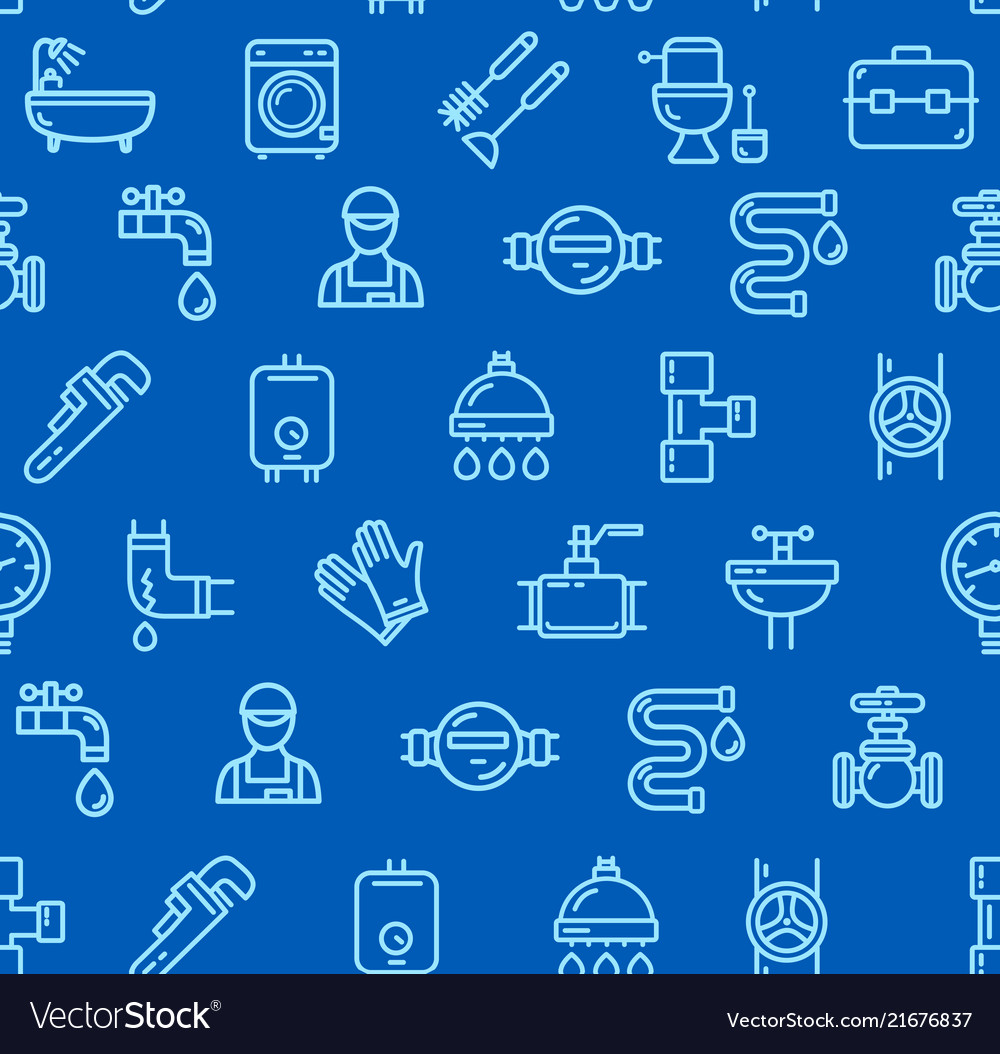 Plumbing signs seamless pattern background on a