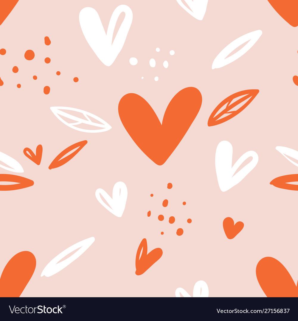 Seamless childish pattern with hand drawn hearts