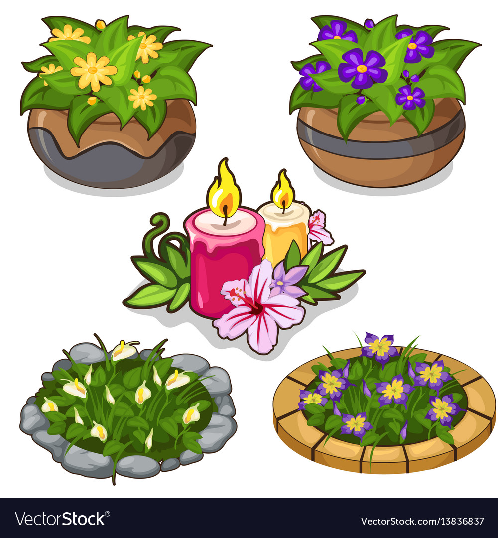 Set of flowers in pots flower beds and candles