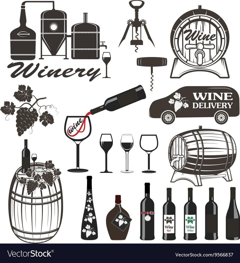 Set of wine signs badges