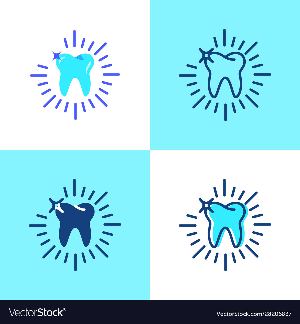 Shining tooth icon set in flat and line style