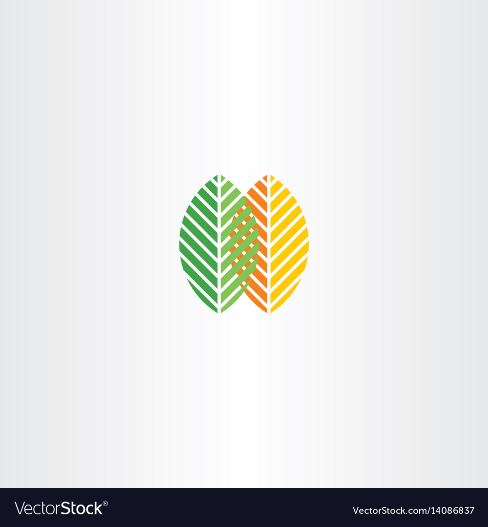 Spring and autumn leaves icon logo