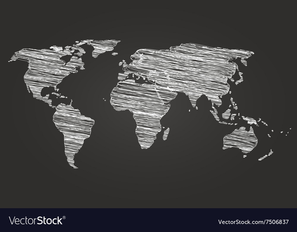 World Map Globe line Sketch vector image
