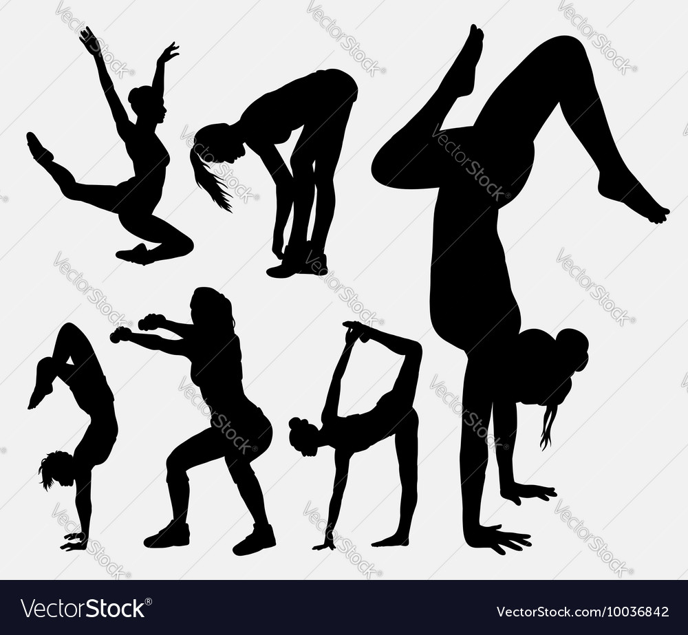 Aerobic sport female activity silhouette vector image
