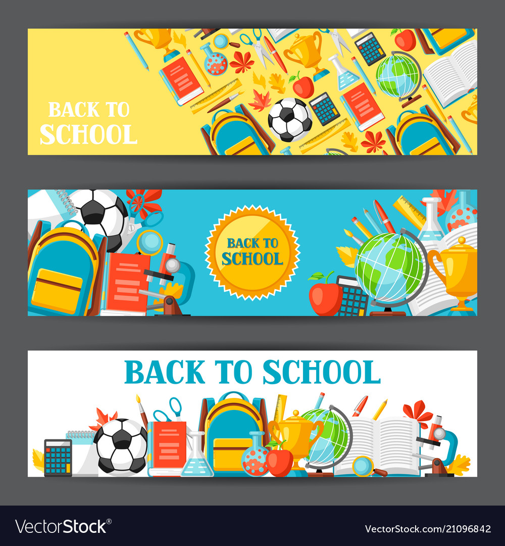 Back to school banners with education items