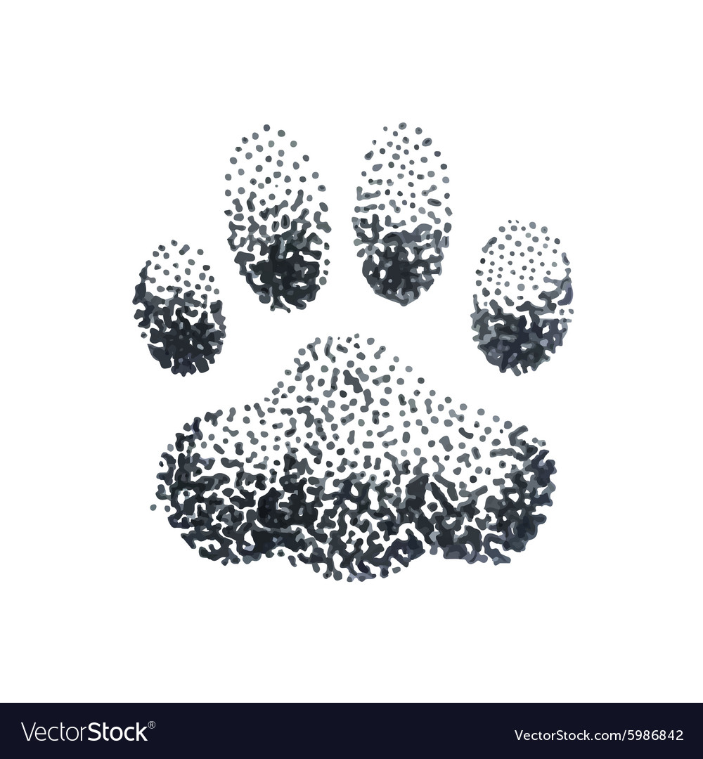 doodle halftone with dog paw print royalty free vector image rh vectorstock com dog paw print tattoo vector Dog Paw Print Silhouette