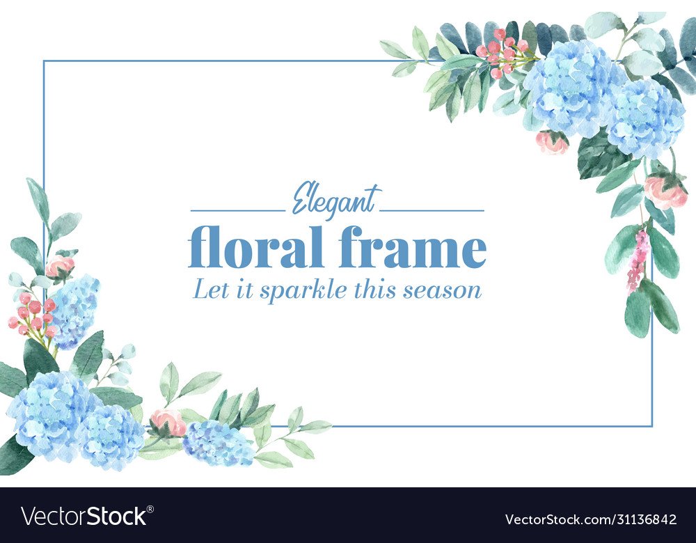 Floral charming frame design with hydrangea peony