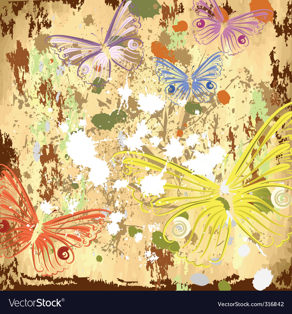 Grunge background with butterflies vector image