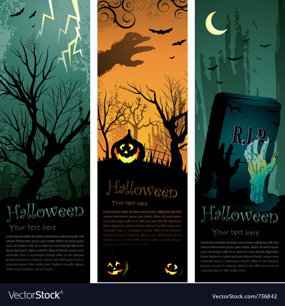 Halloweens vertical banners vector image