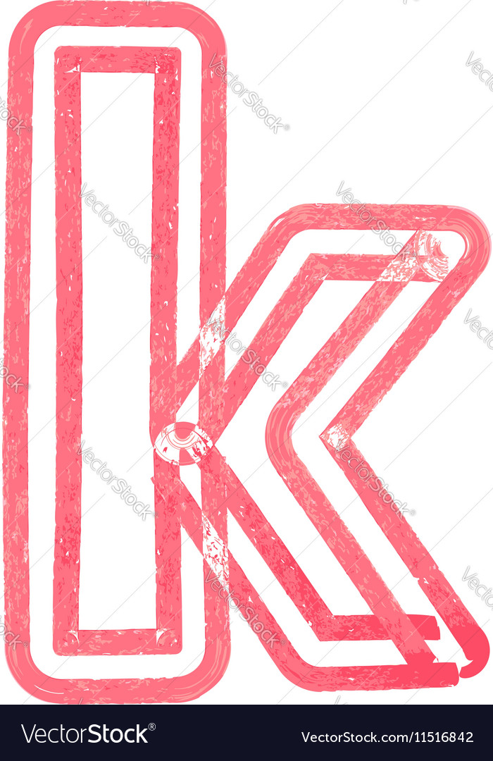Lowercase letter k drawing with Red Marker vector image