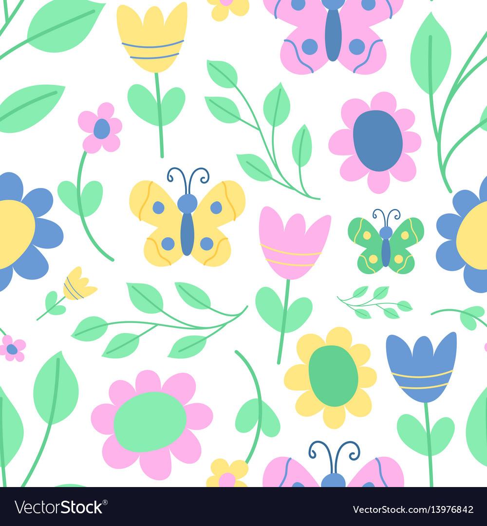 Nature spring flower wreath seamless