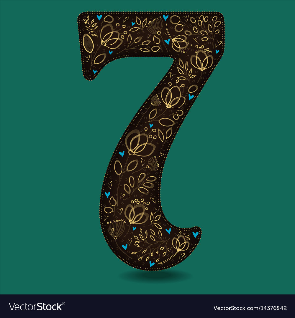 Number seven with vintage golden floral decor vector image