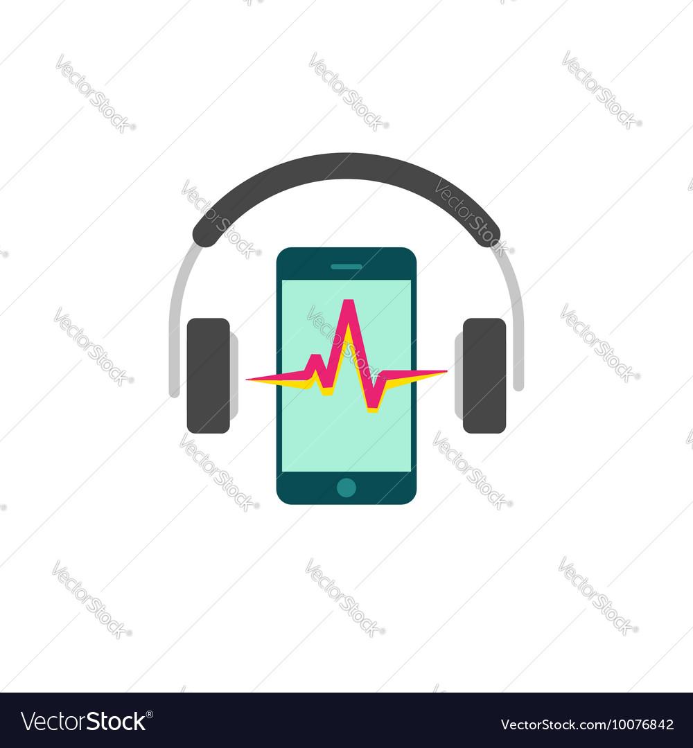 Online mobile music player icon headphones