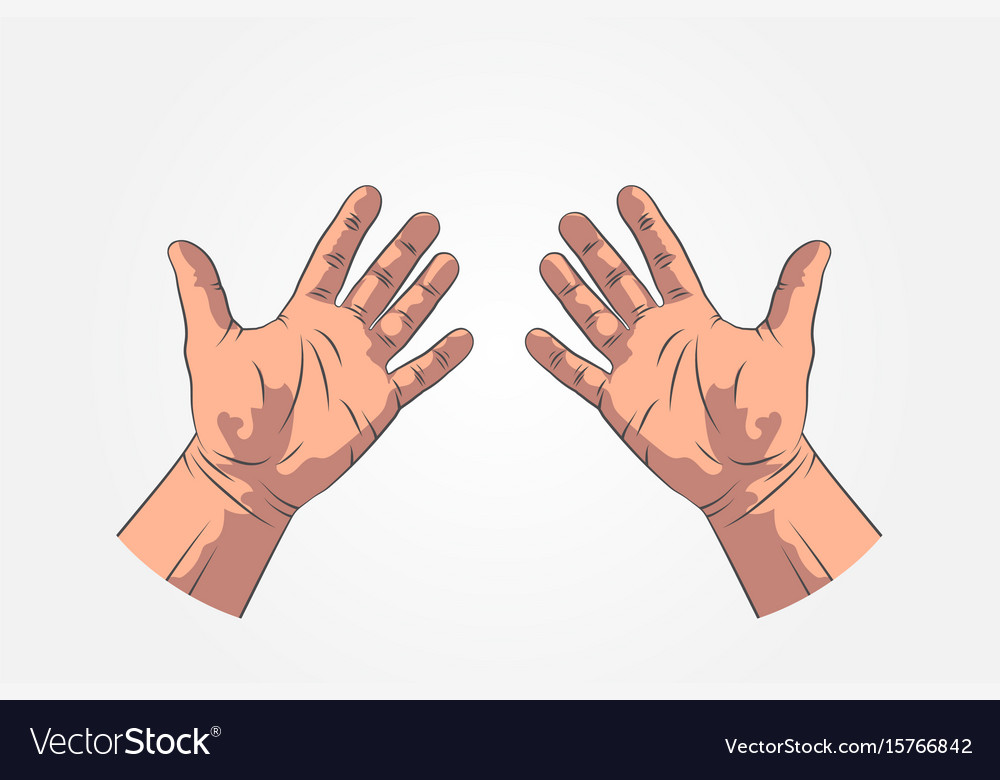 Realistic sketch hands - gestures hand-drawn vector image
