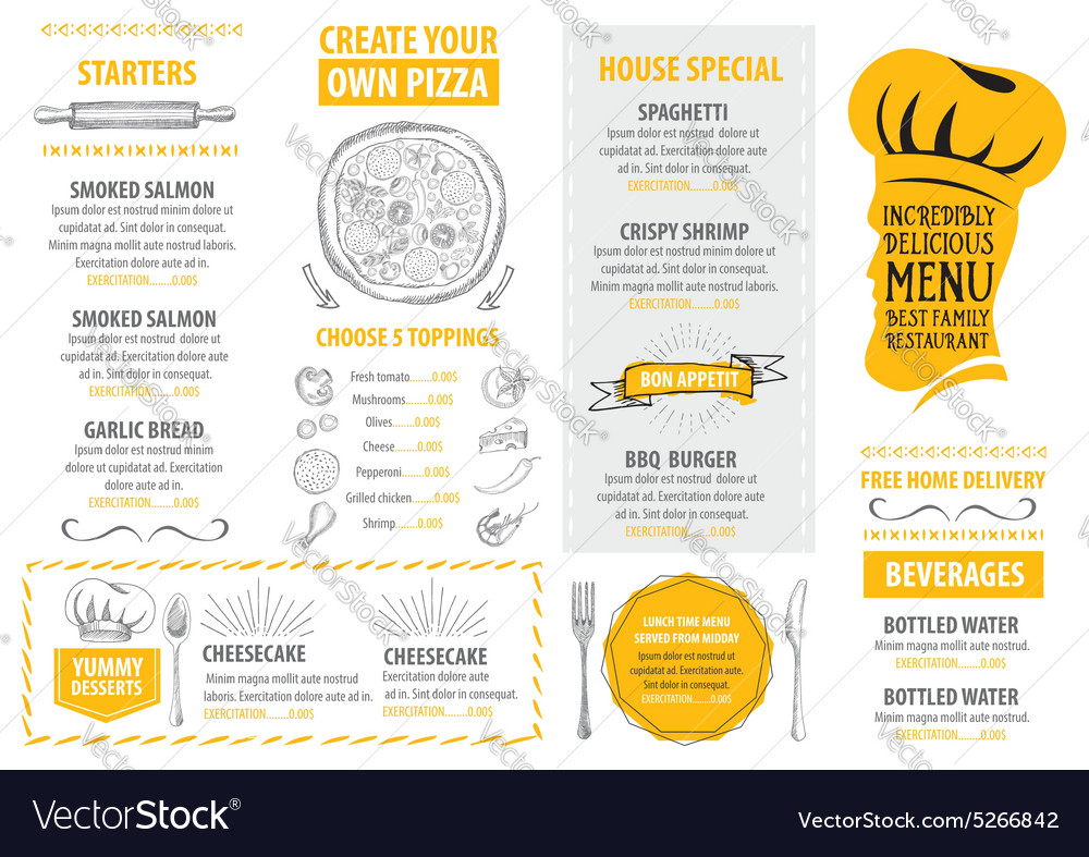 Restaurant Cafe Menu Template Design Food Flyer Vector Image - Delivery menu template