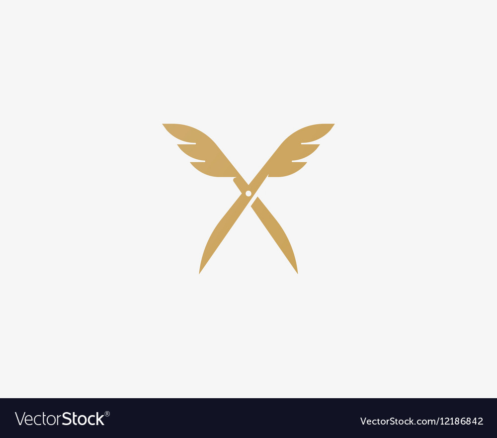 Scissors wings logo design Colorful icon