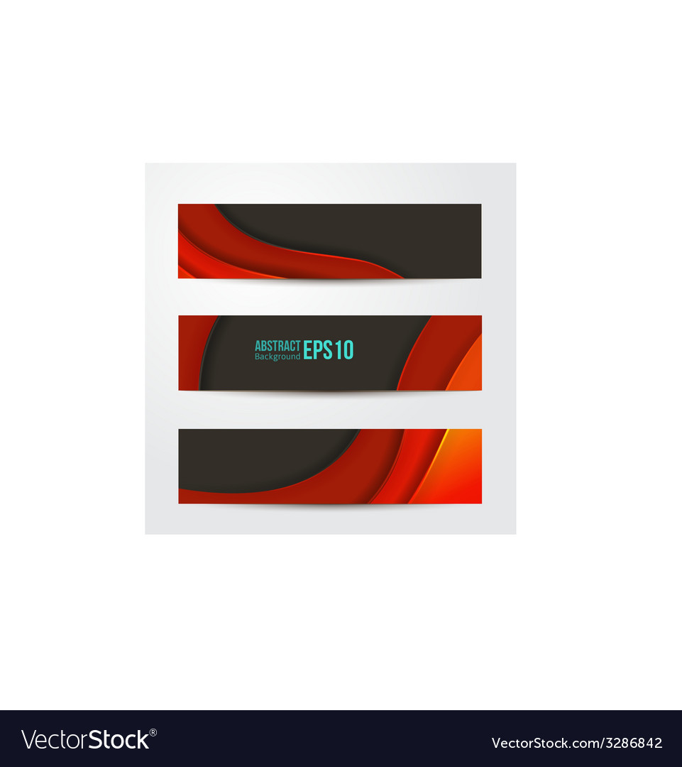 Set of abstract red banners three background