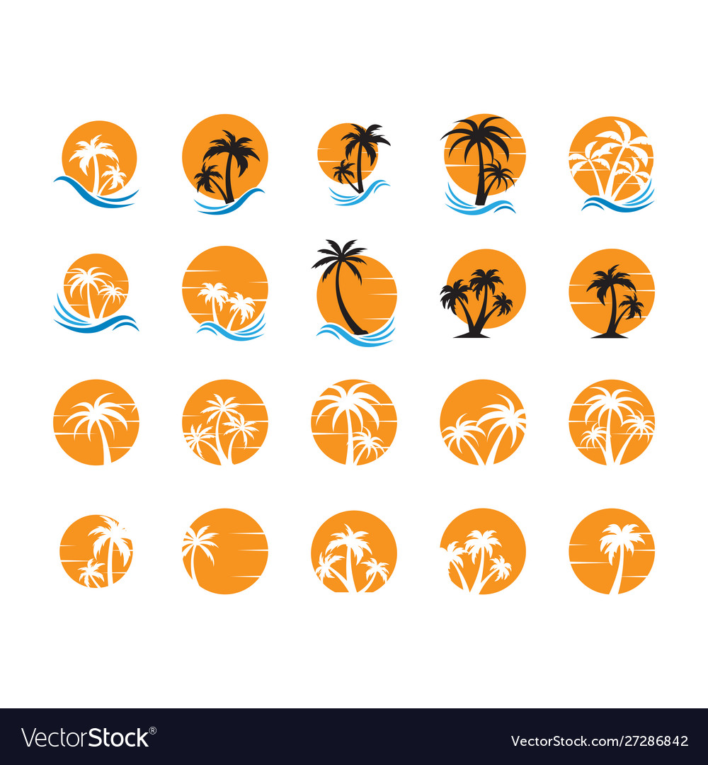Summer palm tree collection set graphic design