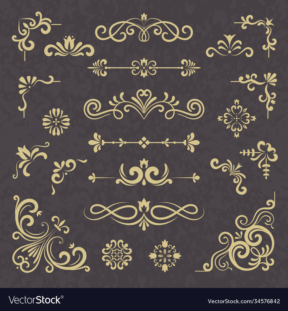 Vintage ornament borders dividers ornate vector