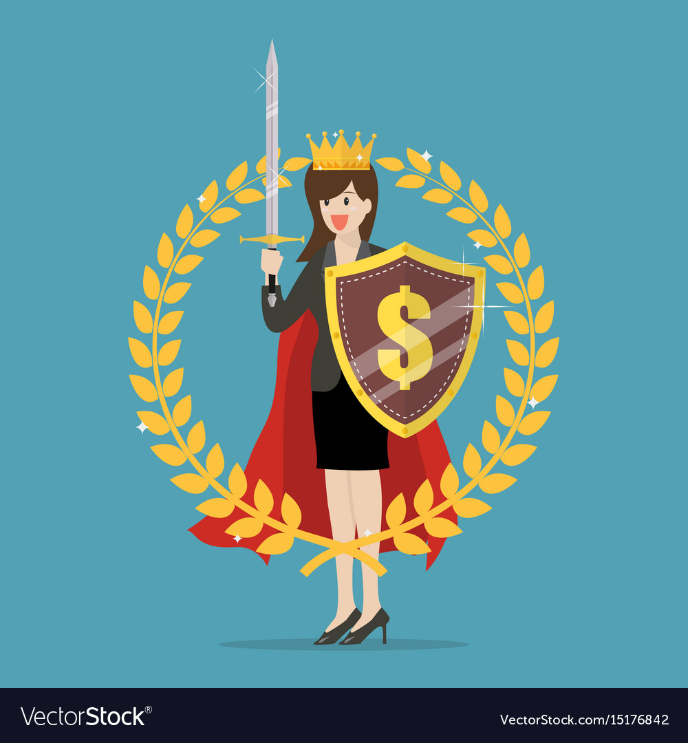 Woman with shield sword and golden wreath