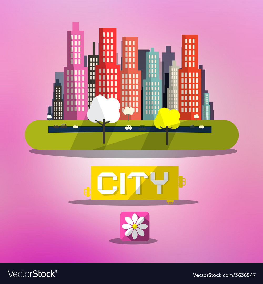 Abstract Spring City on Pink Background
