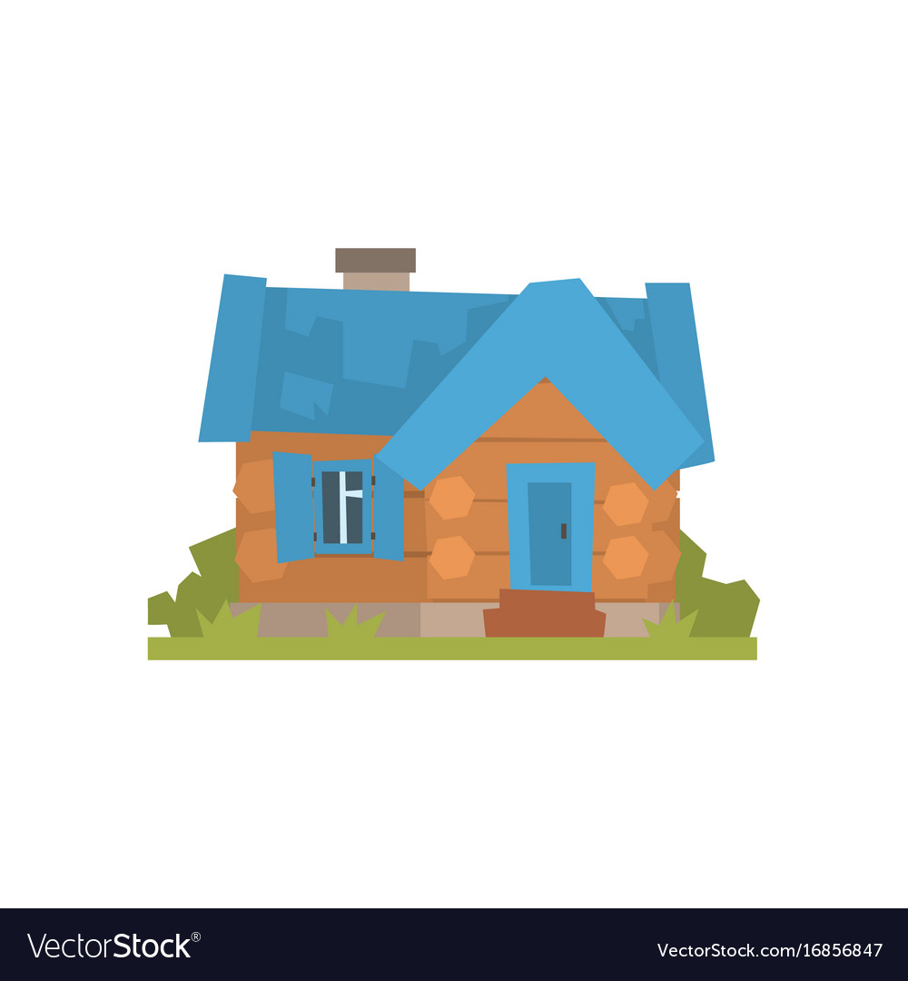Ancient timbered log cabin with blue roof vector image
