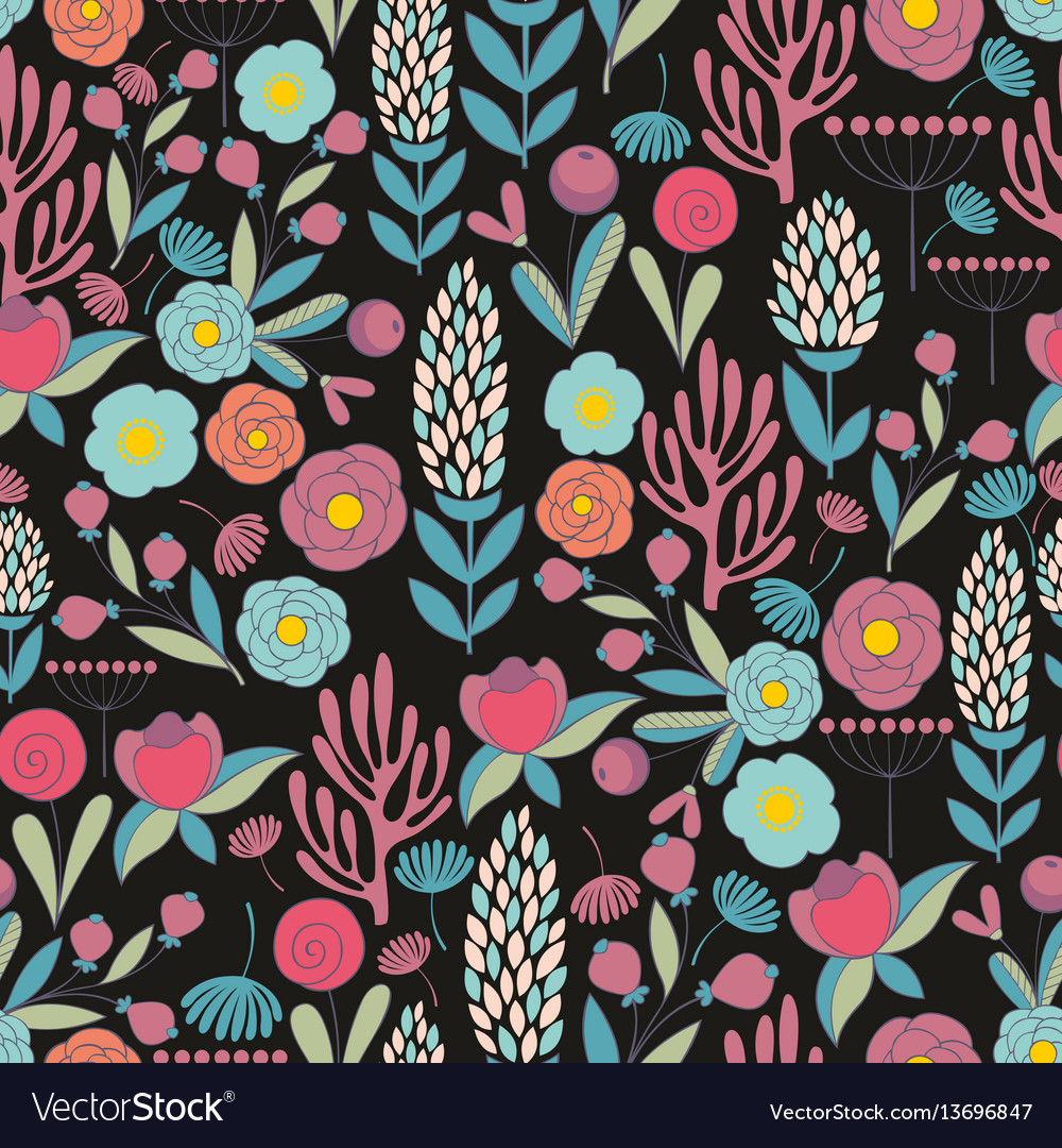Colorful seamless pattern with flowers vector image