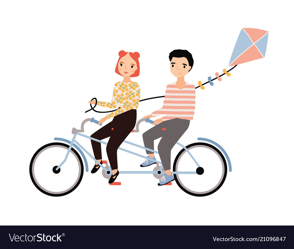 Cute couple dressed in trendy clothes riding