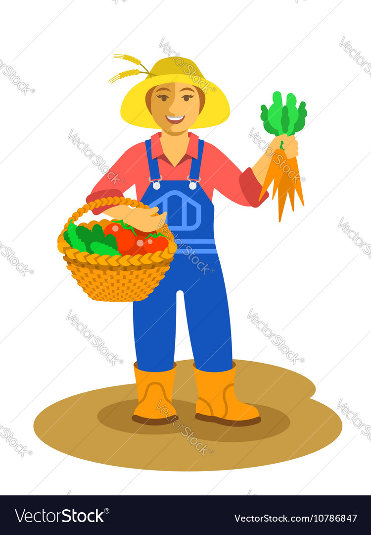 Farmer woman standing with vegetables harvest
