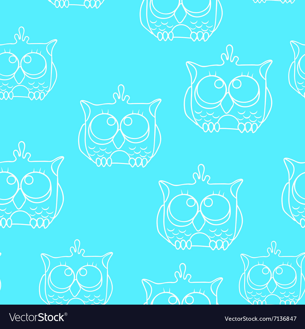 Funny Seamless pattern with owls Baby owls vector image