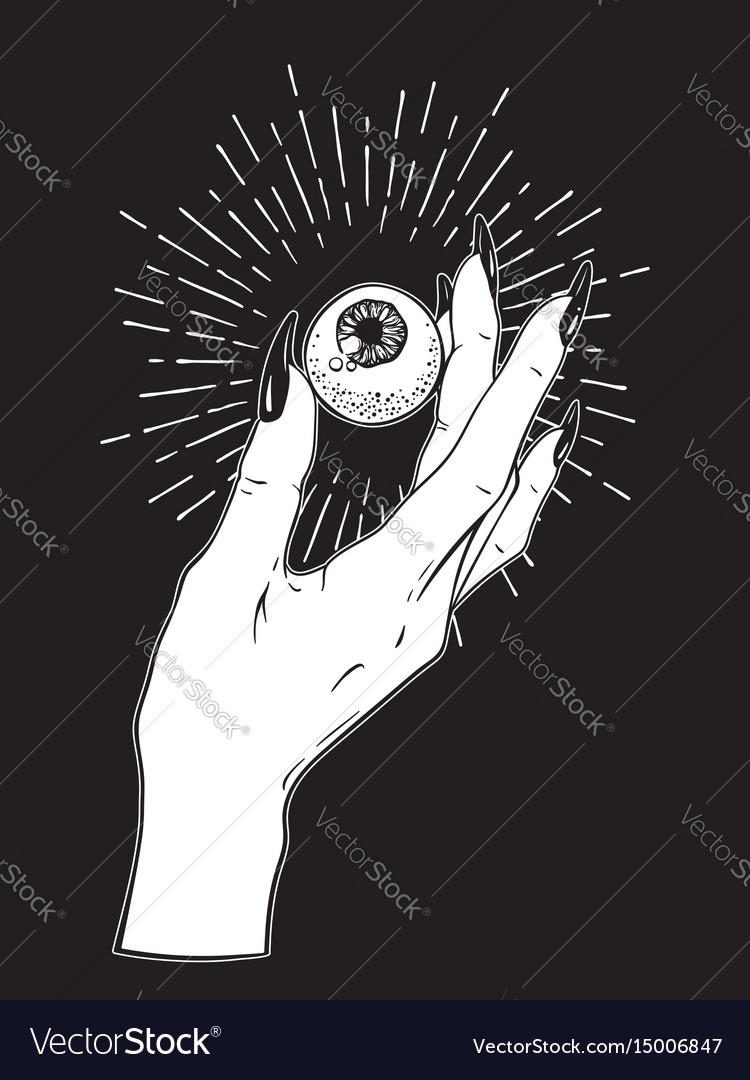 Human eyeball in female hand tattoo design vector image