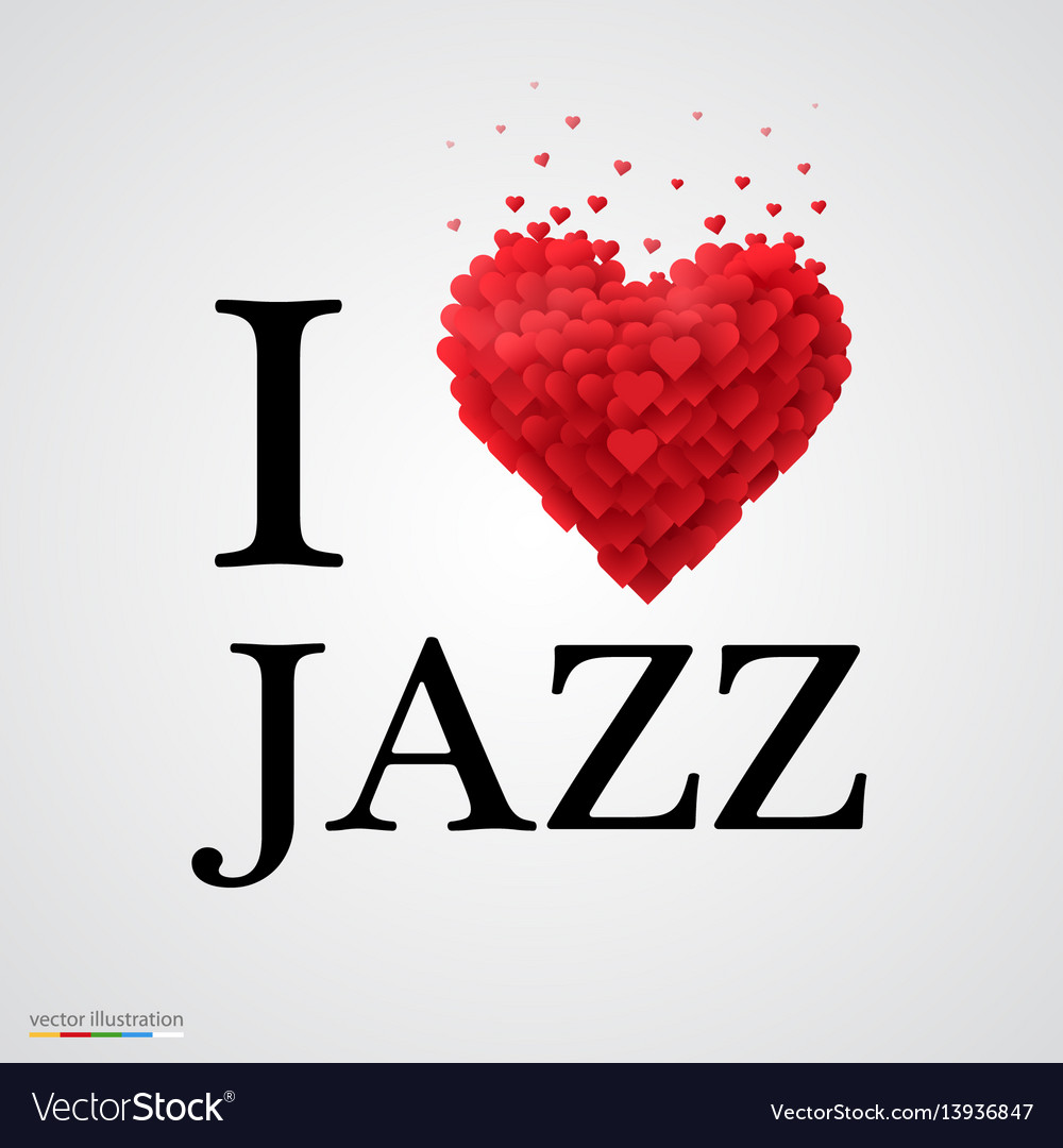 I love jazz heart sign vector image