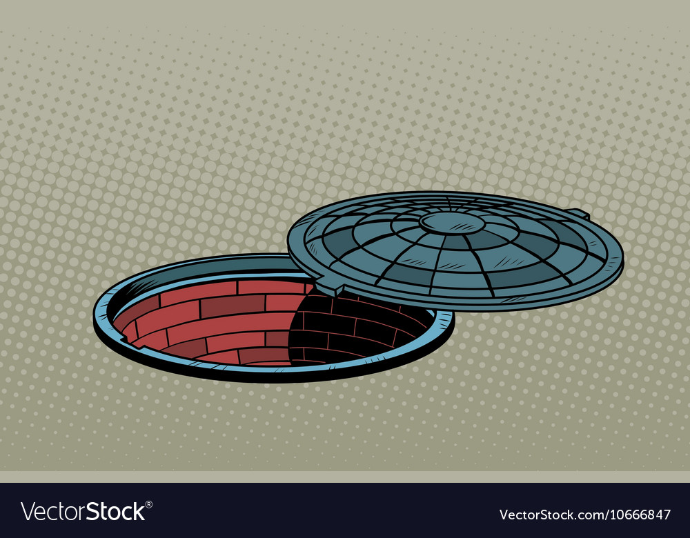 Opened street manhole Realistic vector image