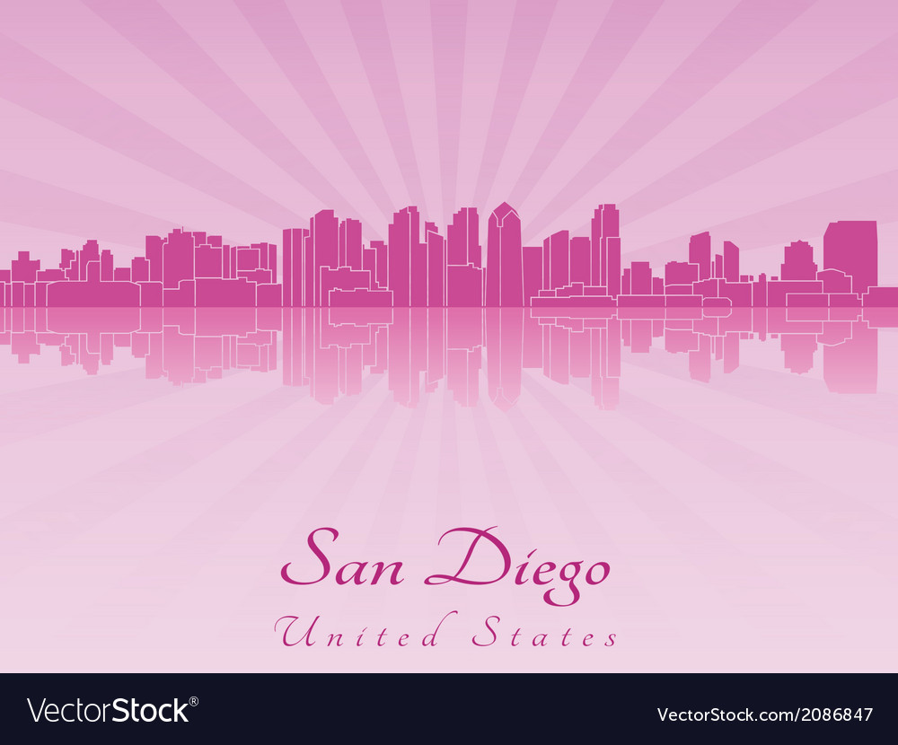 San Diego skyline in purple radiant orchid