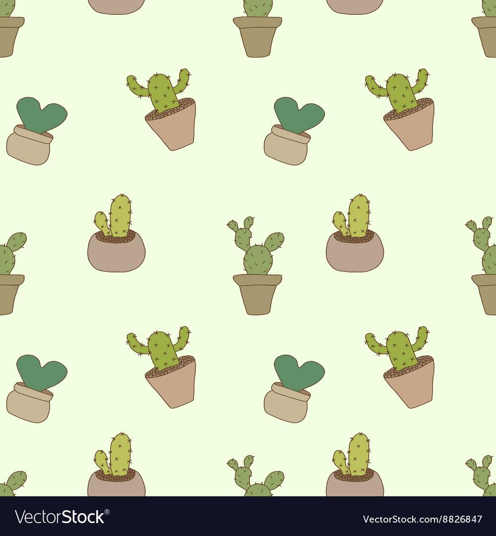 Seamless pattern of cactus pot