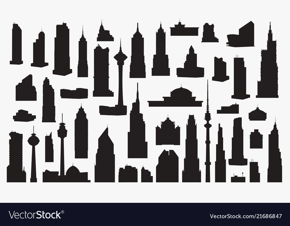 Set of silhouettes of high