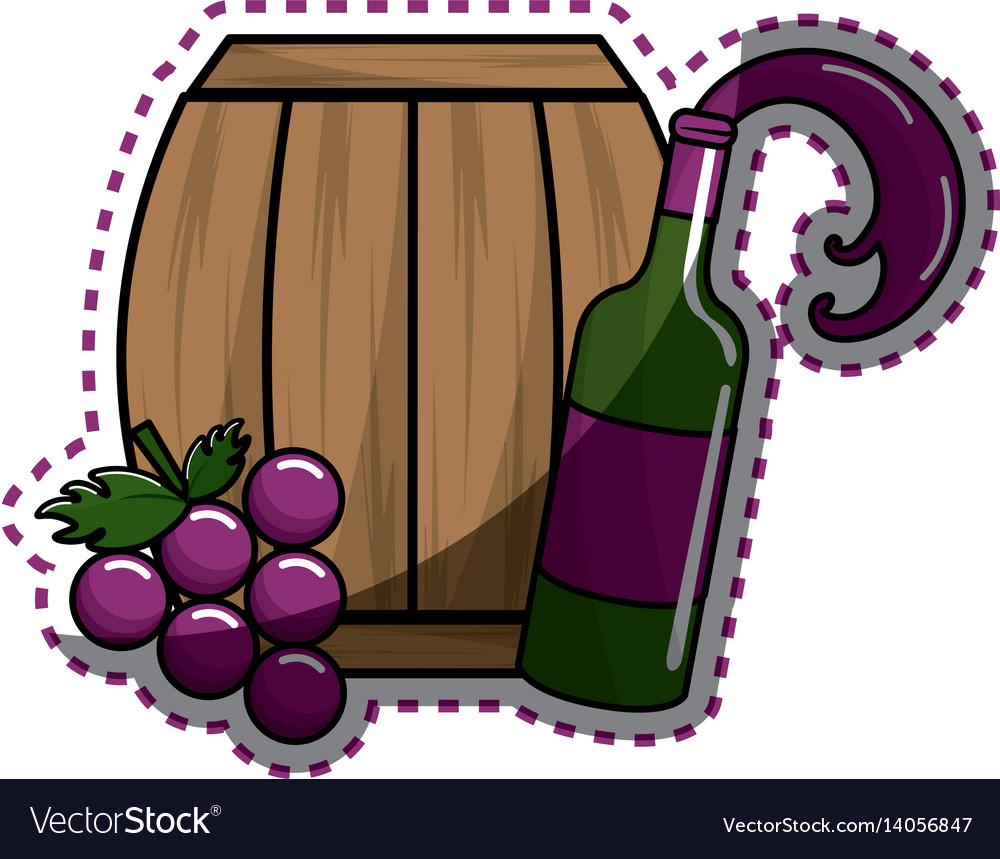 Sticker bottle splashing wine barrel and grape