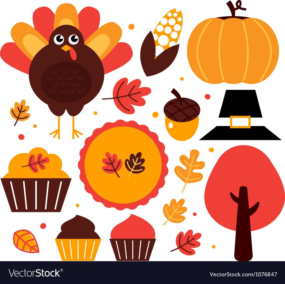 Thanksgiving design elements set