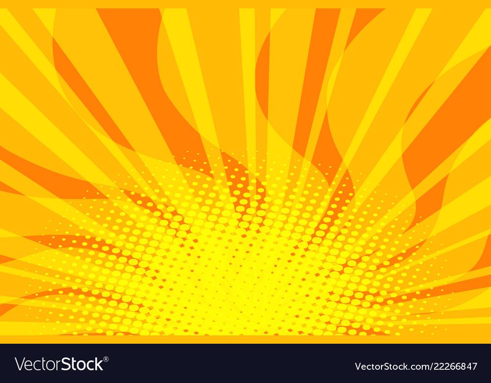 Yellow sunny pop art background