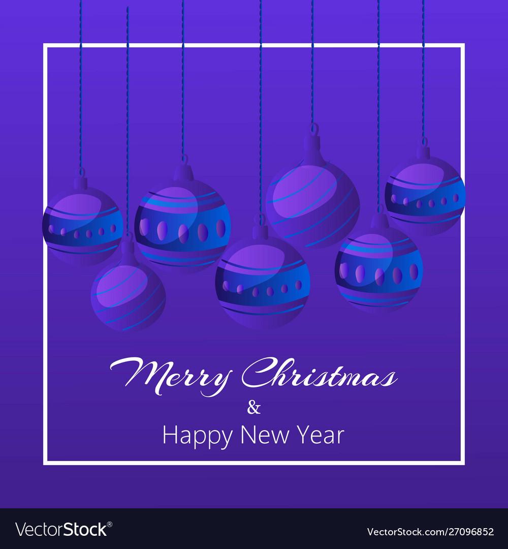 Blue merry christmas balls on dark background