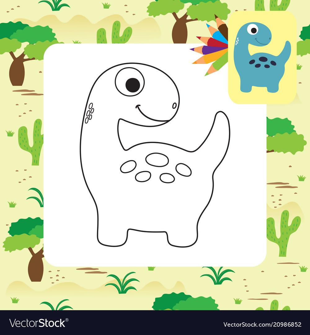 Cute Cartoon Dino Coloring Page Royalty Free Vector Image